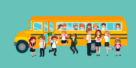 buss: back to school and children education concept vector background vector illustration Illustration