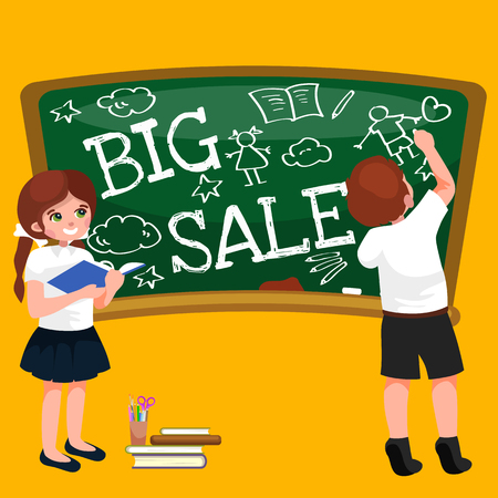 Back to School summer sale background. Boy and girl at the blackboard, education concept banner.