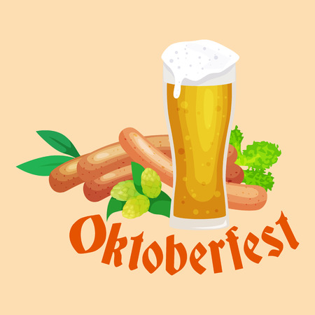 beer stein: germany beer festival oktoberfest, bavarian beer in glass mug, traditional party celebration, vector illustration. Illustration
