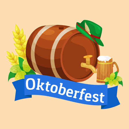 Beer festival Oktoberfest celebrations retro style labels, badges set with beer mug on background Vector illustration.