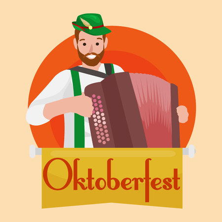 germany beer festival oktoberfest, bavarian beer in glass mug, traditional party celebration, vector illustration. Illustration