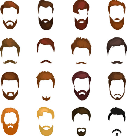 style goatee: Set of men cartoon hairstyles with beards and mustache. Collection of fashionable stylish hairstyles and beards. Vector illustration with isolated hipsters hairstyles on a white background. Illustration
