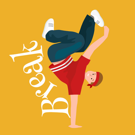 sexy men: Teenager boy dancing hip hop style isolated vector illustration. Young cool dancer break dance, sexy men modern dancing, break pose balance, funky male dancer vector illustration Illustration