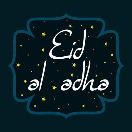 adha: vector holiday illustration of handwritten Eid Al Adha shiny label. lettering composition of muslim holy month with mosque building, sparkles and glitters