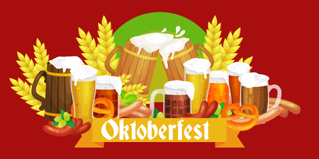 germany beer festival oktoberfest, bavarian beer in glass mug, traditional party celebration, vector illustration. Ilustrace