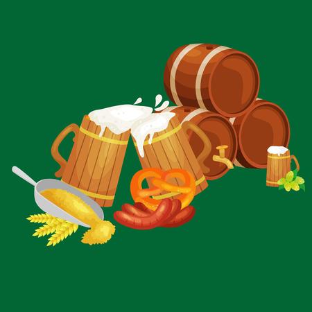 Beer festival Oktoberfest celebrations retro style Illustration