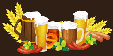 Beer festival Oktoberfest celebrations retro style Illustration