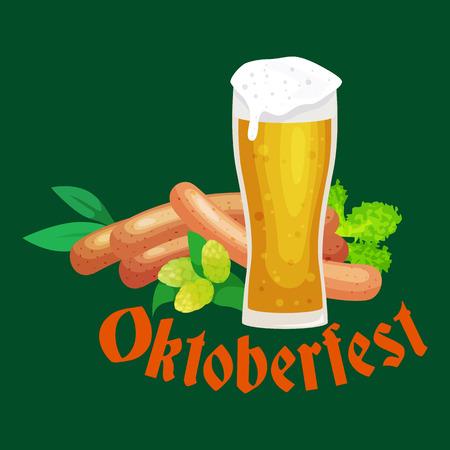 octoberfest: oktoberfest de fiesta de la cerveza, cerveza bávara en la taza de vidrio, celebración tradicional fiesta, ilustración vectorial. Vectores