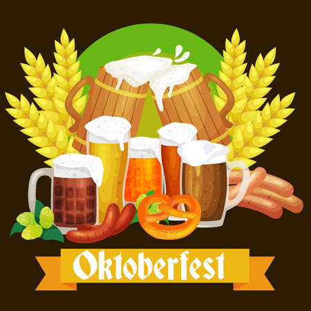 germany beer festival oktoberfest, bavarian beer in glass mug, traditional party celebration, vector illustration. Illustration