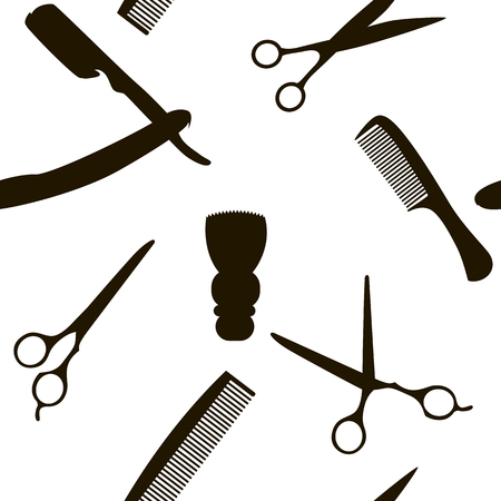 Barber Shop or Hairdresser background, seamless pattern with hairdressing scissors, shaving brush, razor, comb man salon vector illustration