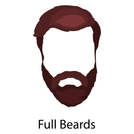 style goatee: Men cartoon hairstyles with beards and mustache.Vector illustration with isolated hipsters hairstyles on a white background.
