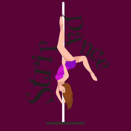Female Pole dancer, woman dancing on pylon, sexy strip girl dancer, yong stripper, sport dance, isolated colored background pretty woman body, beautiful slim girl long hair vector illustration Illustration