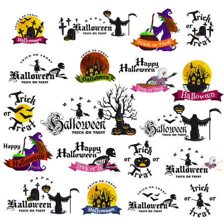 Set Of Vintage Happy Halloween Badges and Labels. Halloween Scrapbook Set. Ribbons, Flat Icons and Other Elements. Vector illustration. Cute Halloween Characters. Vetores