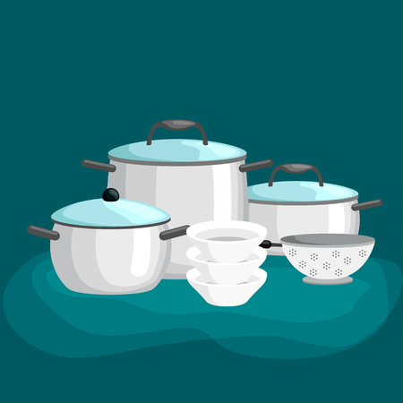 pans: Domestic cooking tools and equipment, pans and pots realistic set with frying pan saucepan and bowl isolated vector illustration set
