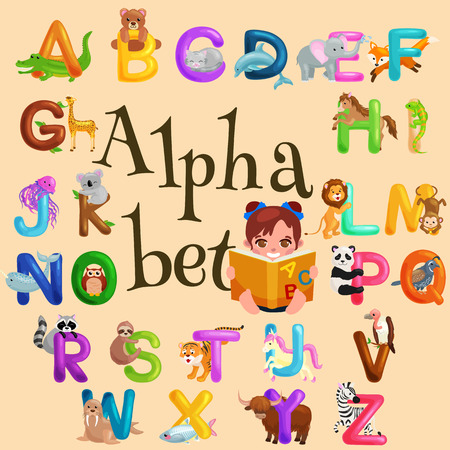 abc: animals alphabet set for kids abc education in preschool.Cute animals letters english alphabet collection. Cartoon animals alphabet set for learning letters vector illustration