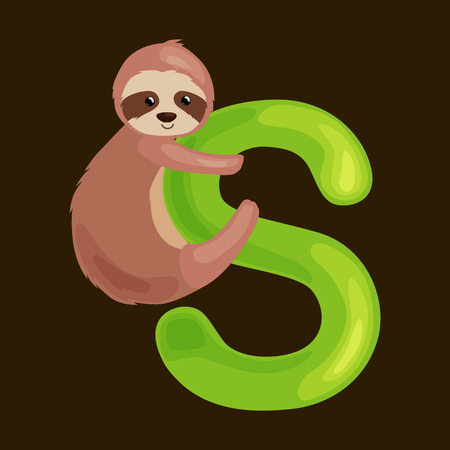 single animal: sloth animal and letter s for kids abc education in preschool.Cute animals letters english alphabet. Cartoon animals alphabet for learning letters vector illustration. Single letter with wild animal sloth