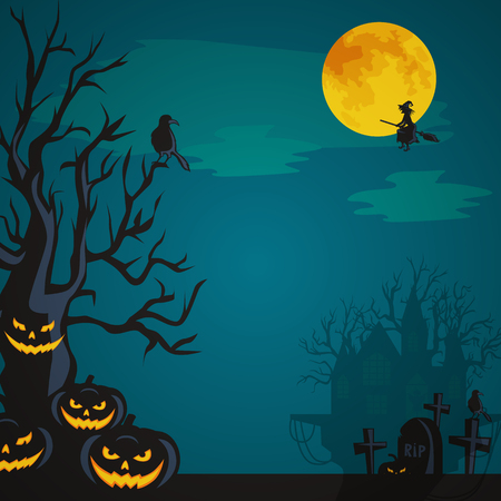 spooky tree: Halloween design - Forest pumpkins on cemetery. Horror background with autumn valley with woods, spooky tree, pumpkins.Space for Halloween holiday text. Halloween background witch flying on broomstick