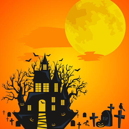 horror castle: Halloween background. Horror forest with castle and cemetery. Halloween design - castle on cemetery big moon and skeleton on halloween cemetery. Halloween background witch flying on broomstick Illustration