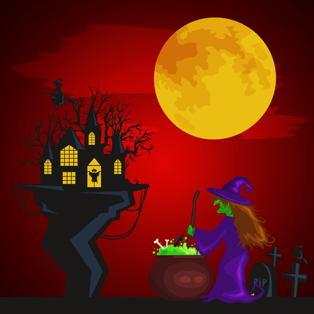 spooky tree: Halloween design - Forest pumpkins. Horror background with autumn valley with woods, spooky tree, pumpkins and spider web. Space for your Halloween holiday text.