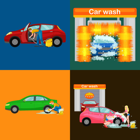 grime: car wash services, auto cleaning with water and soap, car interior. Illustration