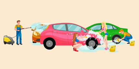 soap suds: car wash services, auto cleaning with water and soap, car interior. Illustration