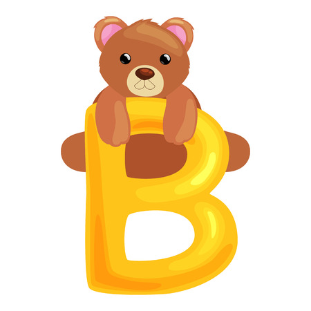 single animal: bear animal and letter for kids abc education in preschool.Cute animals letters english alphabet. Cartoon animals alphabet for learning letters vector illustration. Single letter with wild animal bear Illustration