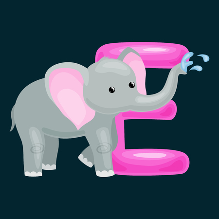 single animal: elephant animal and letter for kids abc education in preschool.Cute animals letters english alphabet. Cartoon animals alphabet for learning letters vector illustration. Single letter with wild elephant Illustration