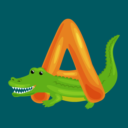Aligator animal and letter A for kids abc education in preschool.Cute animals letters english alphabet. Cartoon animals alphabet for learning letters vector illustration. Single letter with wild animal Aligator
