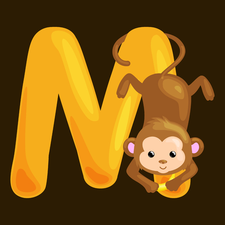 single animal: monkey animal and letter M for kids abc education in preschool.Cute animals letters english alphabet. Cartoon animals alphabet for learning letters vector illustration. Single letter with wild animal monkey