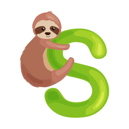 kid s illustration: sloth animal and letter s for kids abc education in preschool.Cute animals letters english alphabet. Cartoon animals alphabet for learning letters vector illustration. Single letter with wild animal sloth