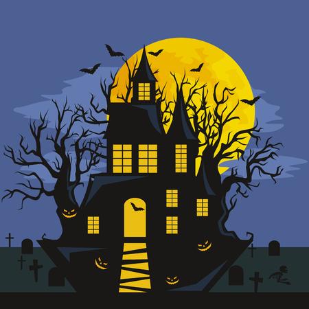 ontwerp Halloween - Bos pompoenen. Horror achtergrond met herfst dal met bossen, griezelige boom, pompoenen en spinneweb. Ruimte voor uw Halloween vakantie tekst.
