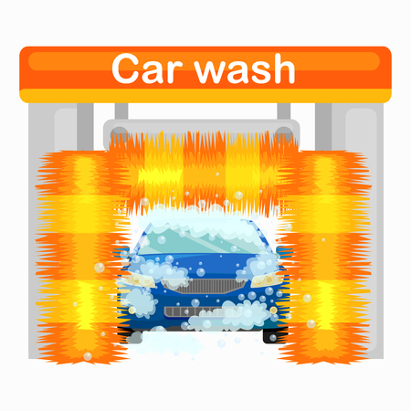 car wash services, auto cleaning with water and soap, car interior. Vectores