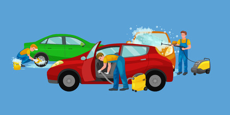 car wash services, auto cleaning with water and soap, car interior. Иллюстрация