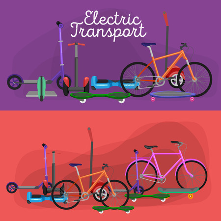 one vehicle: isolated electric scooter with power battery, one and two-wheeled mobility electric vehicle vector illustration, Eco alternative city transport. Flat biking and rolling wheels, kick scooter collection