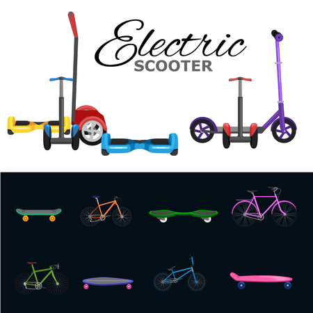 commute: isolated electric scooter with power battery, one and two-wheeled mobility electric vehicle vector illustration, Eco alternative city transport. Flat biking and rolling wheels, kick scooter collection