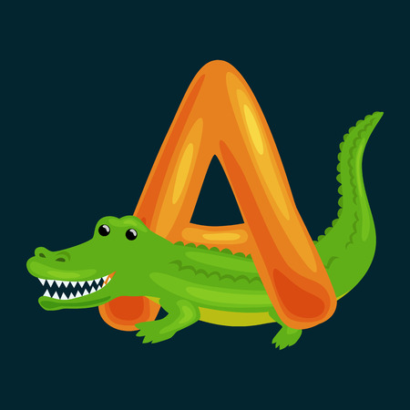 aligator: Aligator animal and letter A for kids abc education in preschool.Cute animals letters english alphabet. Cartoon animals alphabet for learning letters vector illustration. Single letter with wild animal Aligator