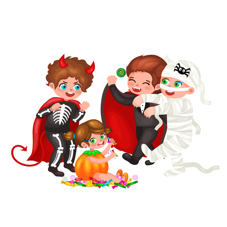 skeleton costume: Cute colorful Halloween kids in costume for party set isolated vector illustration.