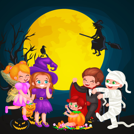 Cute colorful Halloween kids in costume for party set isolated vector illustration.