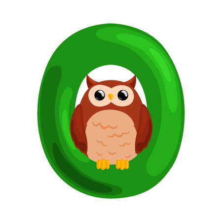 single animal: animal owl and letter O for kids abc education in preschool.Cute animals letters english alphabet. Cartoon animals alphabet for learning letters vector illustration. Single letter with wild animal owl