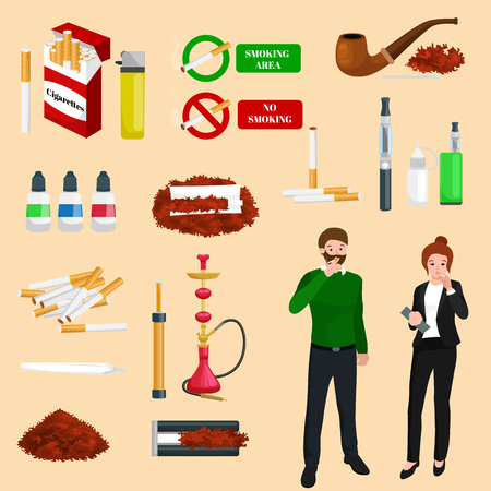 cigar smoking man: Smoking tobacco decorative icons set with cigarettes hookah cigars alcohol lighter on brown background isolated vector illustration