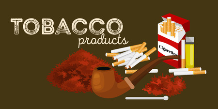 Smoking wooden pipe and tobacco and smoking equipment vector illustration. Illustration