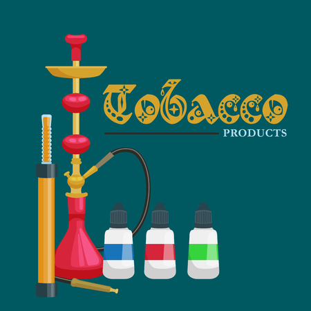 bottled: Colorful and modern red hookah isolated with bottled liquid vector illustration.
