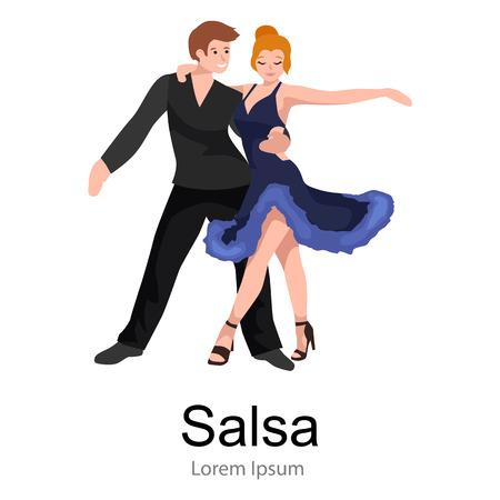 bailarines de salsa: Feliz pareja de bailarines de salsa aislado en blanco icono de pictograma, el hombre y la mujer en traje de baile de salsa con pasión, gente bailando ilustración vectorial salón de baile, salsa bailarina niña a la música de fondo