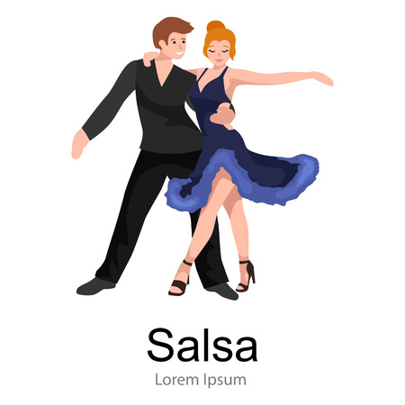 bailarines de salsa: Happy Salsa dancers couple isolated on white icon pictogram, man and woman in dress dancing salsa with passion, people dancing ballroom vector illustration, young girl dancer salsa to the music background