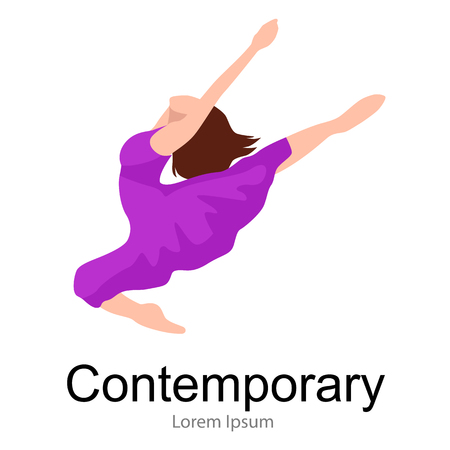 contemporary dancer, elegance dance, young girl jumping in dance, beautiful modern moving activity, active woman, ballet girl performance, good gymnastic stretching, Illustration