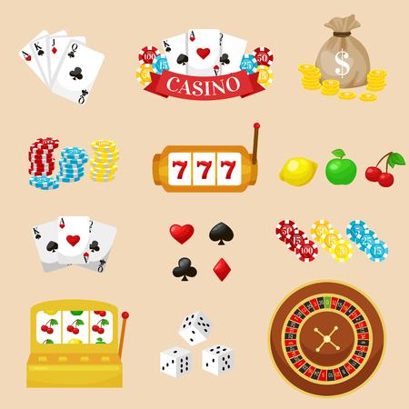 Pictogramas Juegos De Azar Establecidos Baraja De Cartas Y Casino
