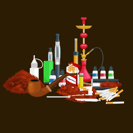snuff: Smoking tobacco decorative icons set with cigarettes hookah cigars alcohol lighter on brown background isolated vector illustration