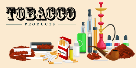 tobacco product: Smoking tobacco decorative icons set with cigarettes hookah cigars alcohol lighter on brown background isolated vector illustration