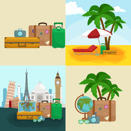 Travel concept. Travel bag. Travel passport. Travel camera. Travel ticket. Travel airplane. Travel Isometric Travel flat. Travel 3d. Travel vector. Travel illustration. Travel insurance Travel luxury Ilustrace