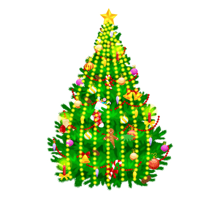 isolated tree: holiday christmas tree isolated decoration for celebrate xmass with ball gold bells candles stars lights candy and gingerbread men.